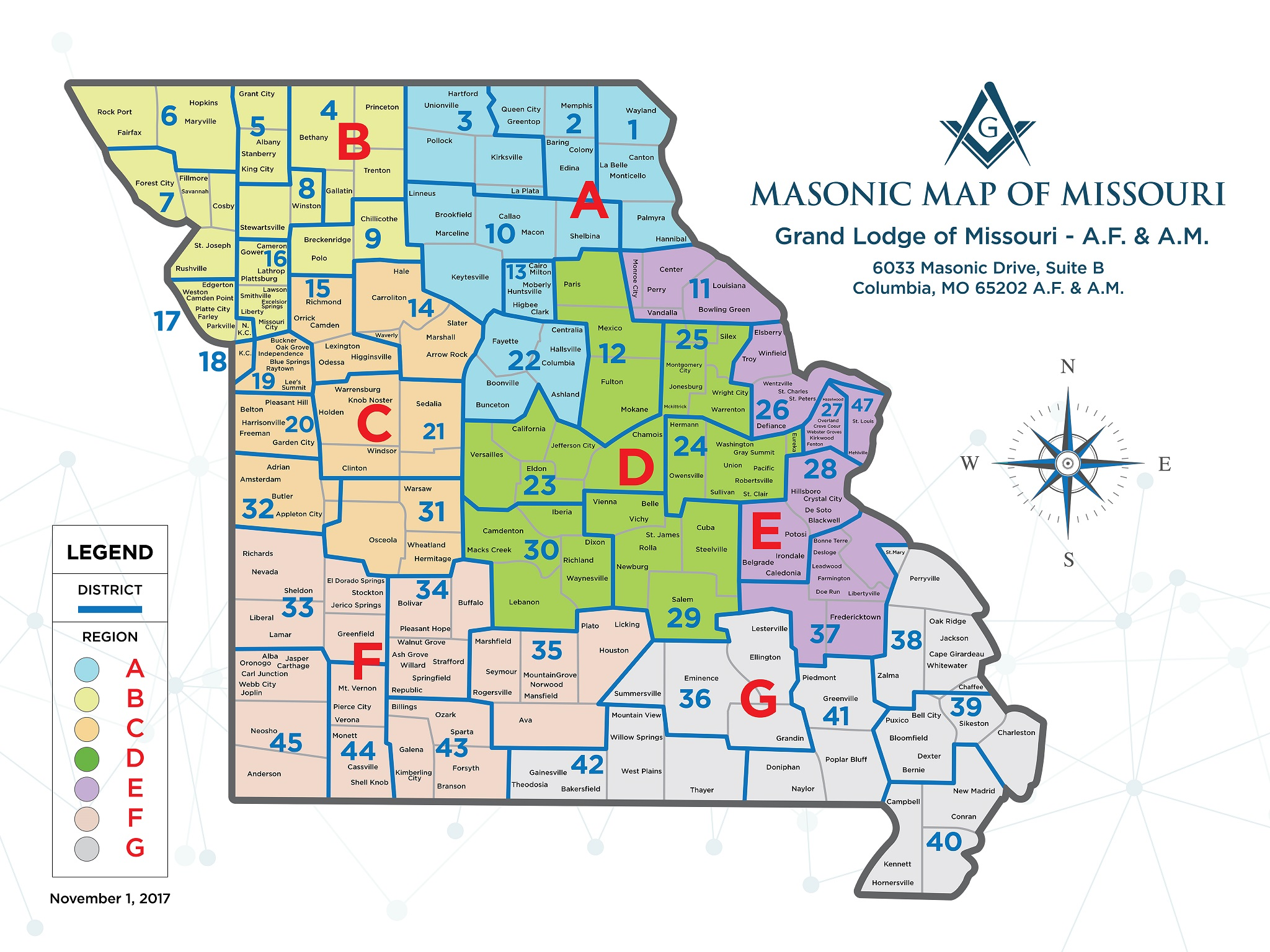District Map The Grand Lodge Of Missouri - Map mo
